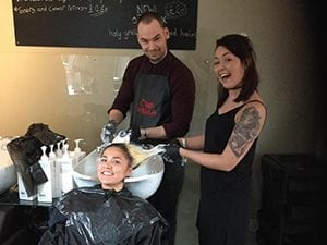 Fun at the backwash at Sale Sand Hairdressing